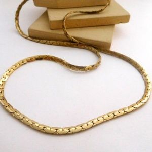 "Vintage 24"" Long Yellow Gold Tone Chain Necklace"
